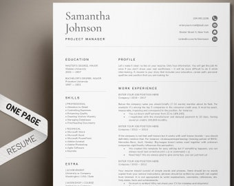 1 page resume template modern and professional cv template format for any job great layout design word easy to edit instant download