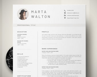 creative resume template word teacher resume with photo executive resume education cv template instant download administrative assistant