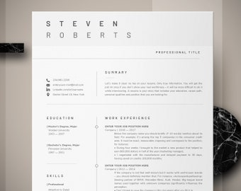 modern resume template cv template cover letter professional resume for word instant digital download mac or pc 2 page minimal resume