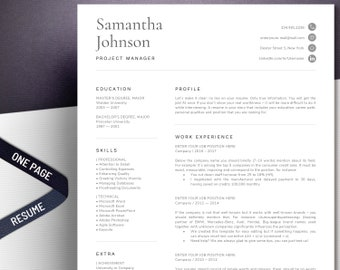 1 Page Resume Template | Modern and professional cv template format for any job, great layout design Word - easy to edit | Instant Download