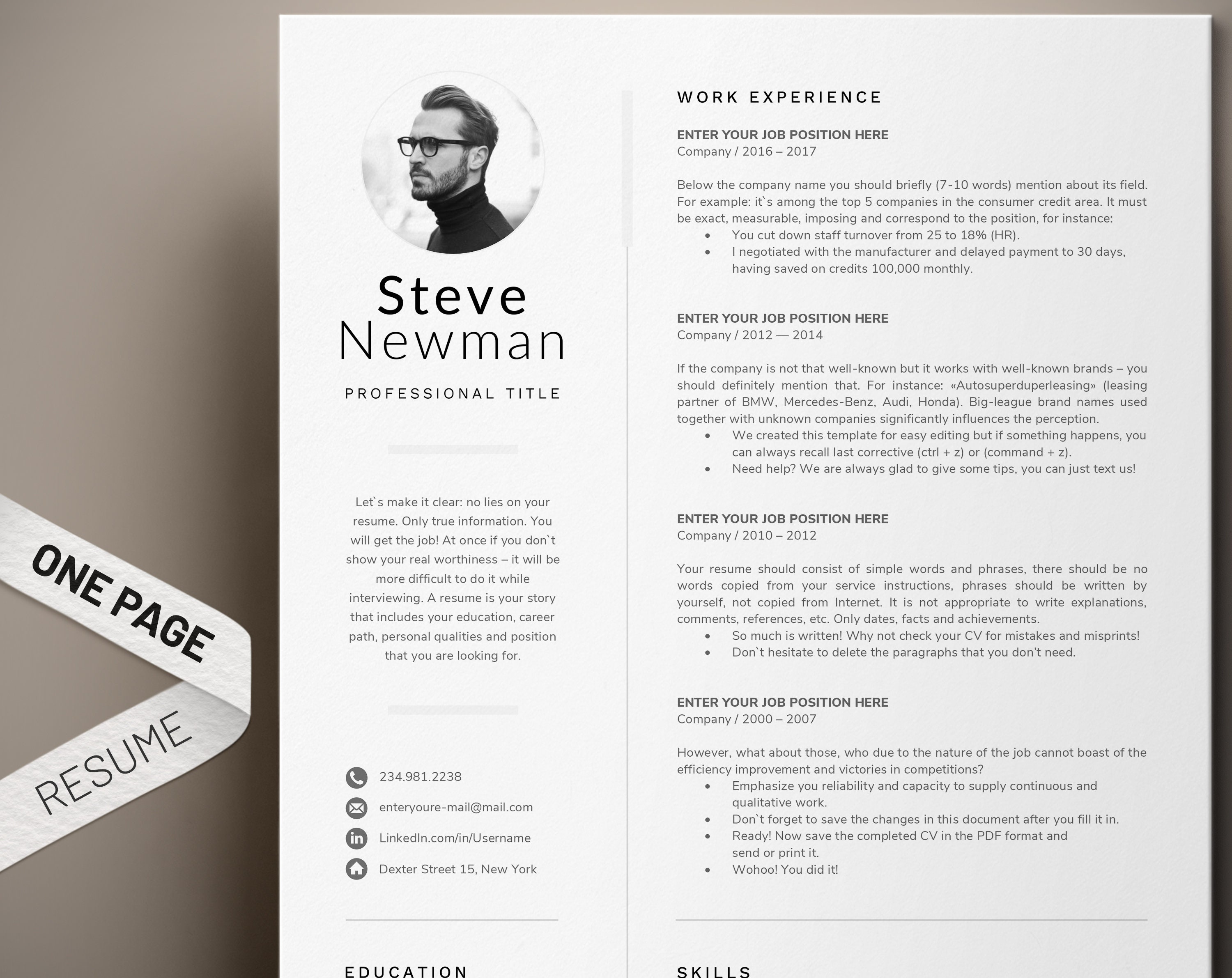 Minimalist Resume Template Word Professional Resume Cv | Etsy