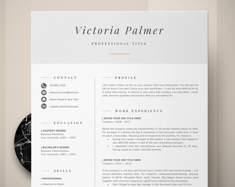 Modern Professional Resume Two Page Curriculum Vitae Template 2 And Cover Letter Reference 4