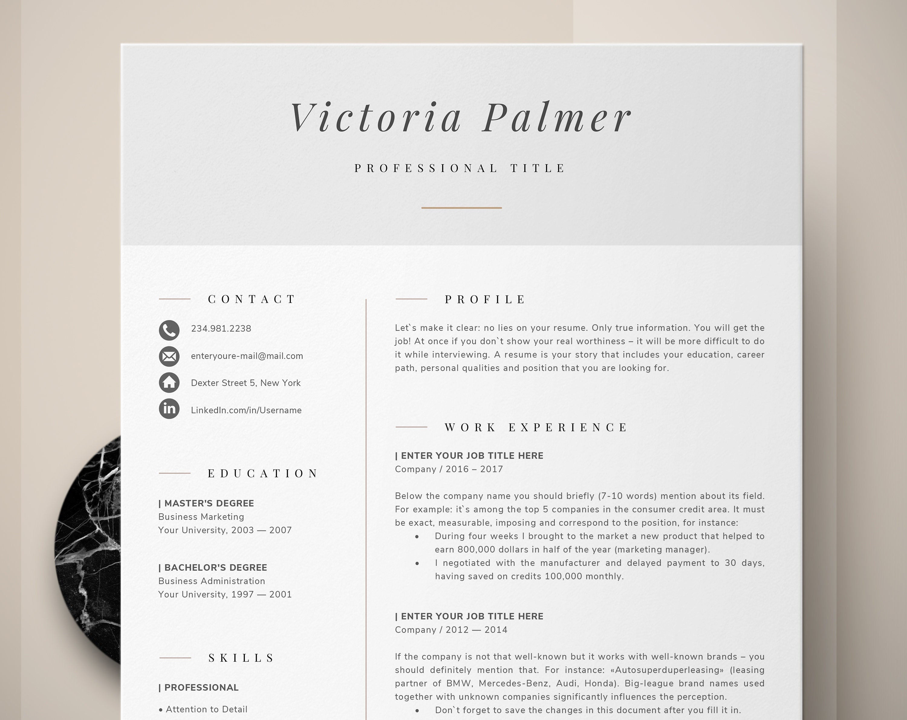 Modern Professional Resume, Two Page Resume, Curriculum Vitae Template, 2  Page Resume and Cover Letter Template + Reference = 4 page resume