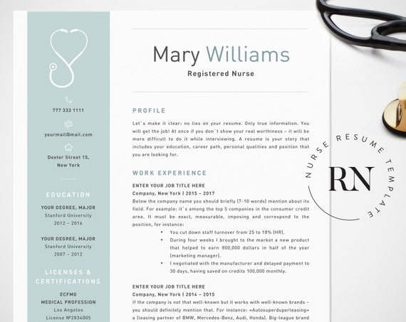 Nurse Resume Template | Nurse Resume Template For Word Medical Resume Word Nurse Cv Etsy