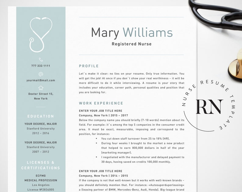 Nurse Resume Template For Word Medical CV