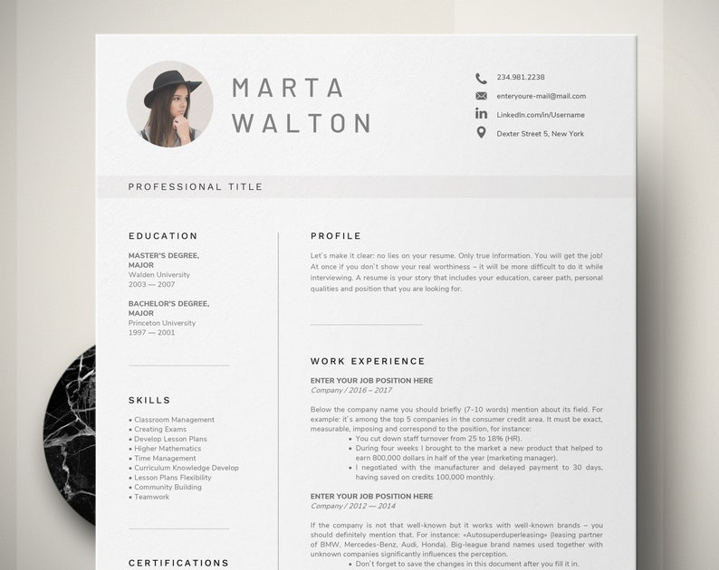 Creative Resume Template Word Teacher With Photo