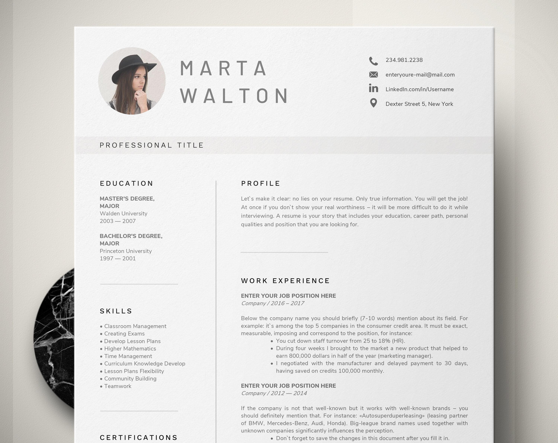 Creative Resume Template Word Teacher With Photo