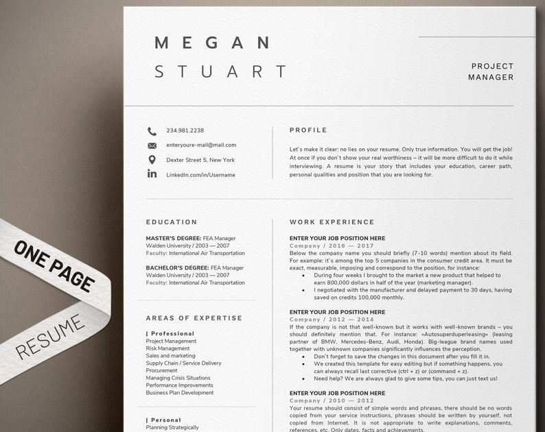 Resume template Professional resume 1 page resume Modern resume CV template  Cover Letter | One page resume | Minimal & Simple Resume Format