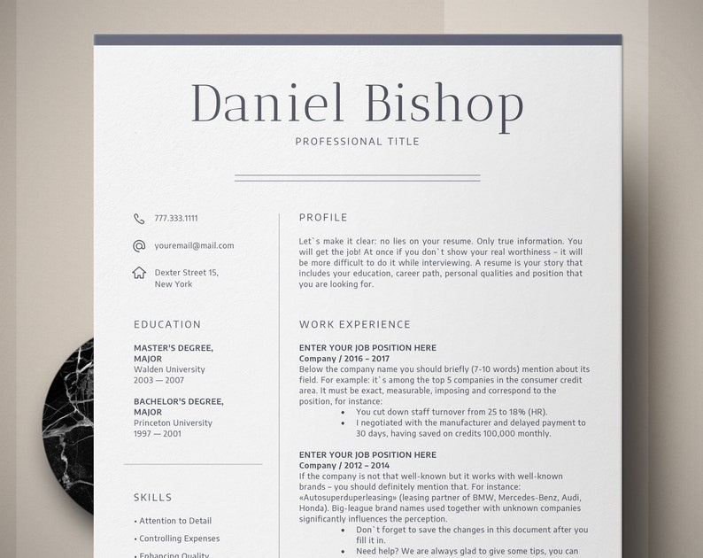 Executive Resume Template CV Cover Letter