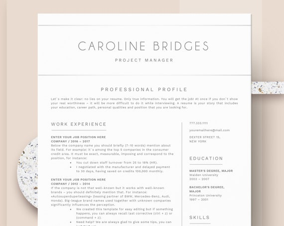 Simple Resume Template Clean Professional Resume Template For Word Cv Resume Cover Letter Two Page Cv Instant Download Resume