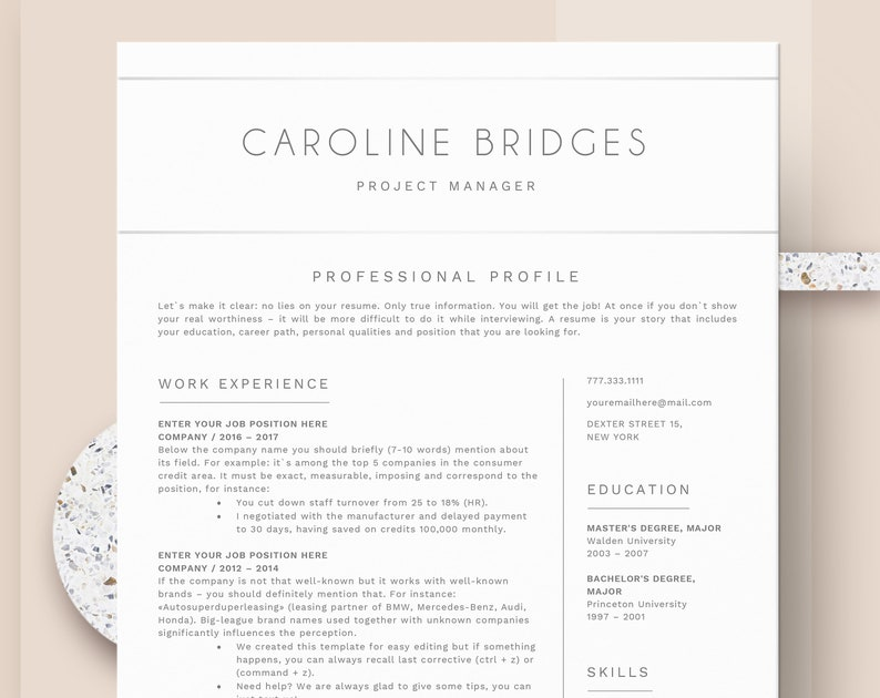 Simple Resume Template | Clean & Professional Resume Template for Word | CV  Resume + Cover Letter | Two Page Cv | Instant Download Resume