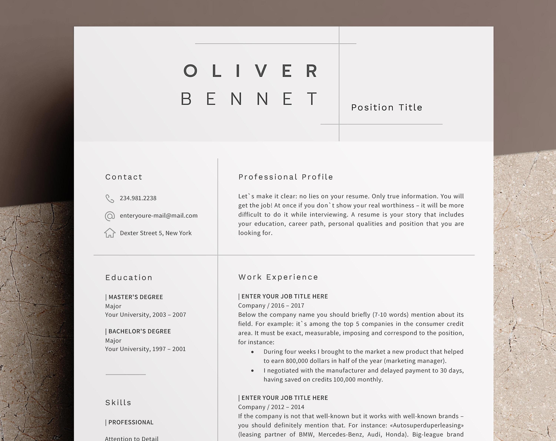 minimalist resume template cv template 3 page resume