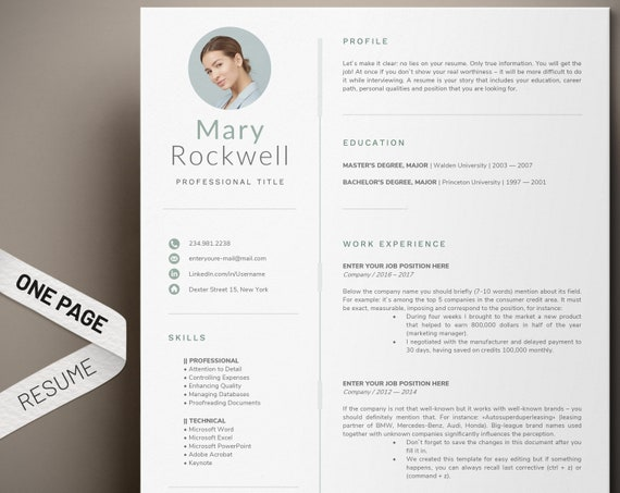 1 Page Resume Template Modern and professional cv template | Etsy