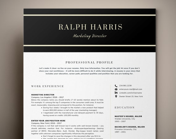 Professional Resume Template / CV Template Cover Letter | Etsy