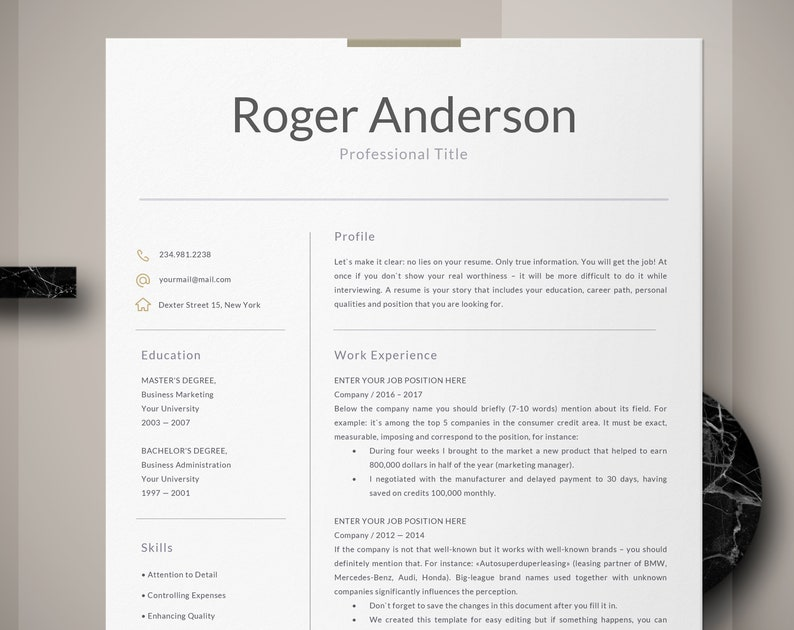 Executive Resume Template Business For Word