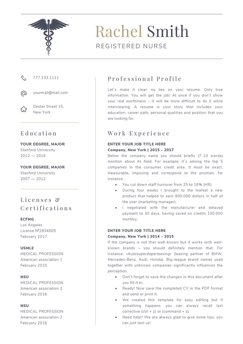 Nursing resume template for word Nurse cv template rn | Etsy