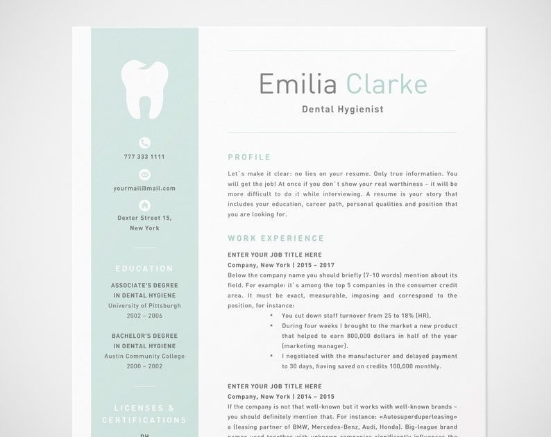 Dental Hygienist Resume Template For Word RDH Dentist CV