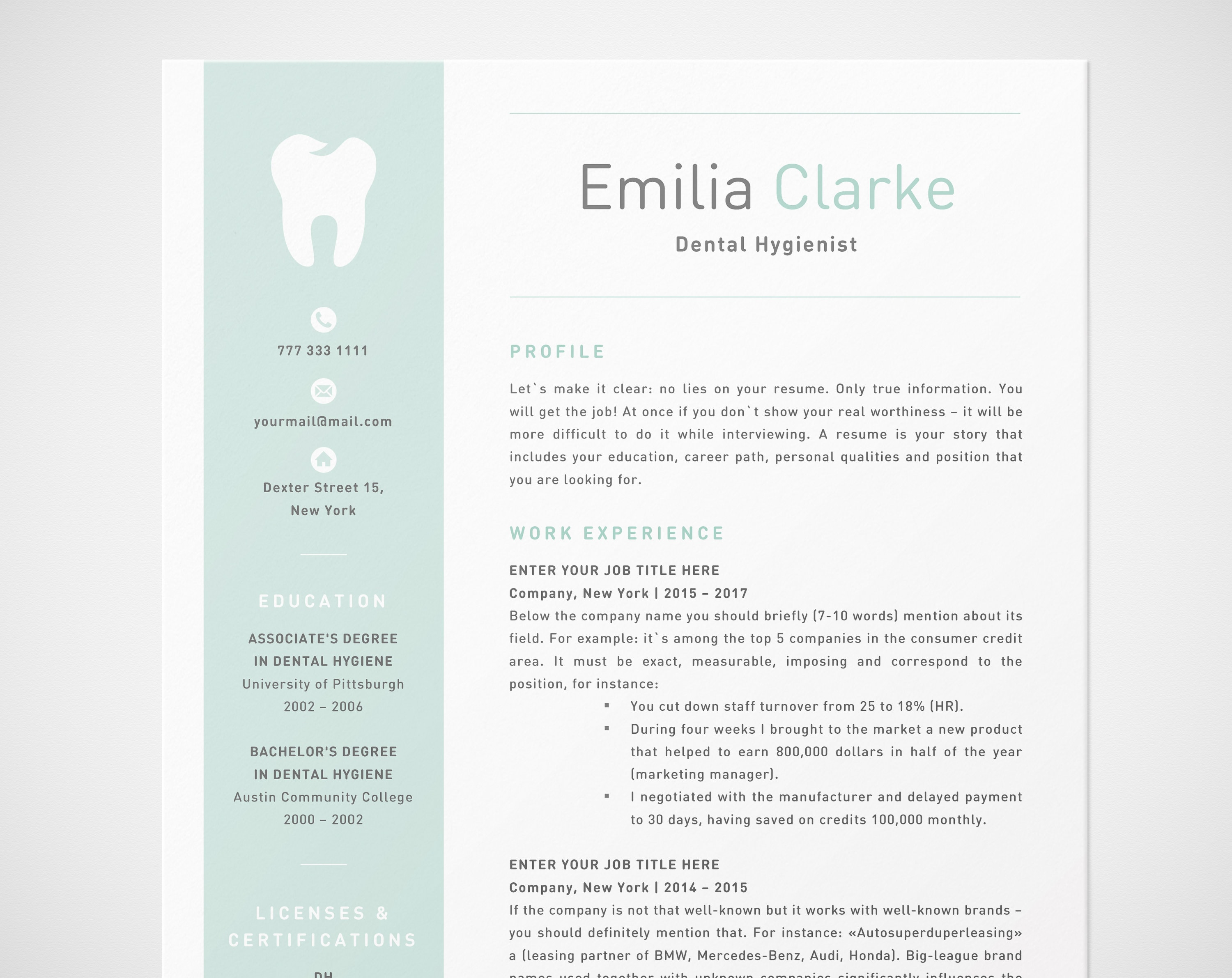 Dental Hygienist Resume Template For Word RDH Dentist CV Registered Assistant RDA Cda Orthodontic