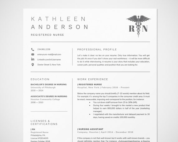 Registered Nurse Resume Template for Word | Nursing Resume | RN Resume,  Doctor CV, Medical Resume | RN - can be used like personal monogram
