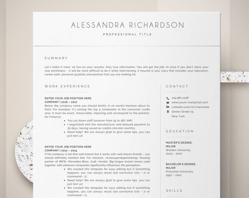 Modern Resume Template | CV Template, Cover Letter | Professional Resume  for Word, Instant Digital Download, Mac or Pc 2 page Minimal Resume
