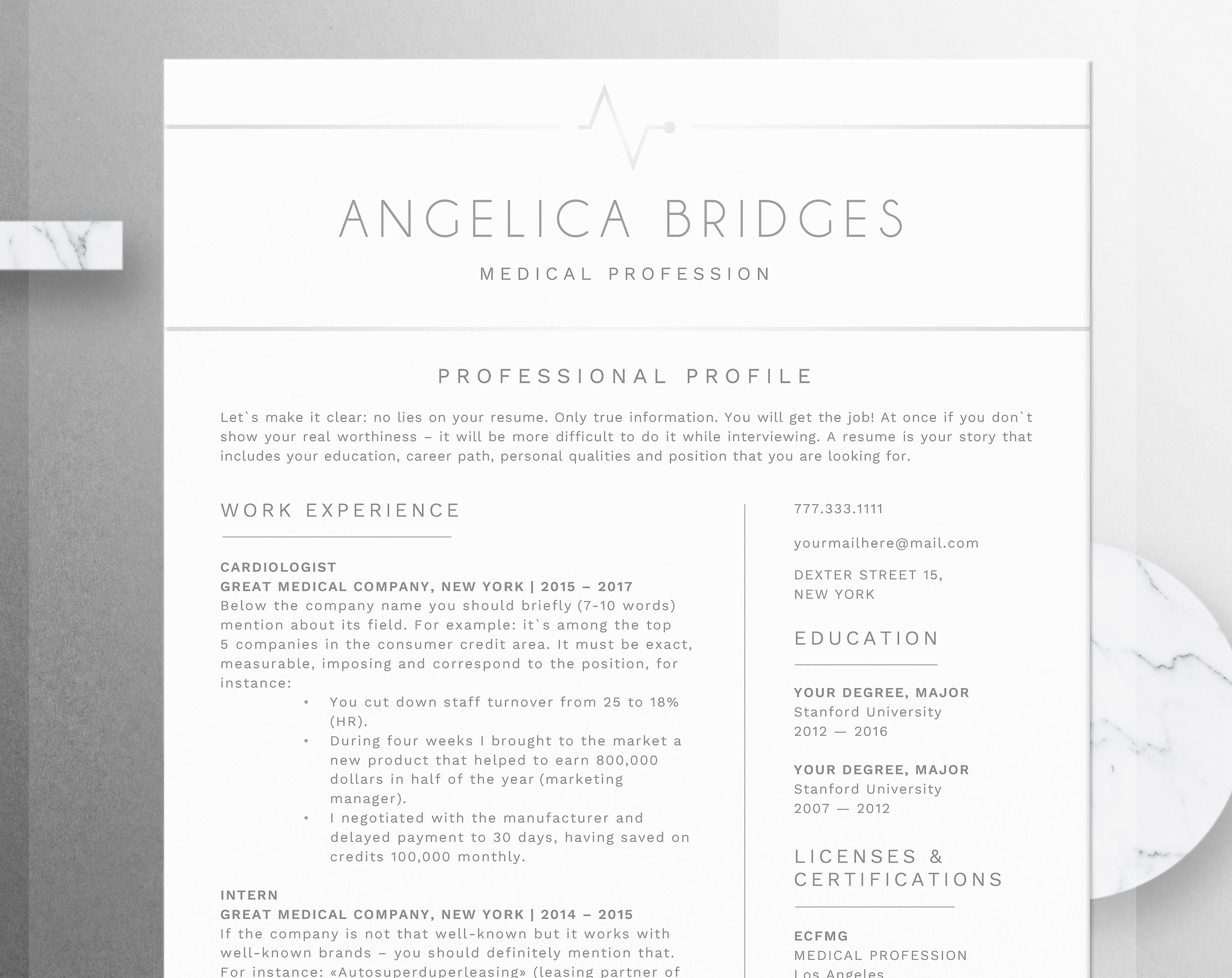 Registered Nurse Resume Template Word Medical CV