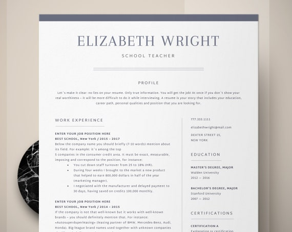 teacher resume template teacher cv template principal resume etsy