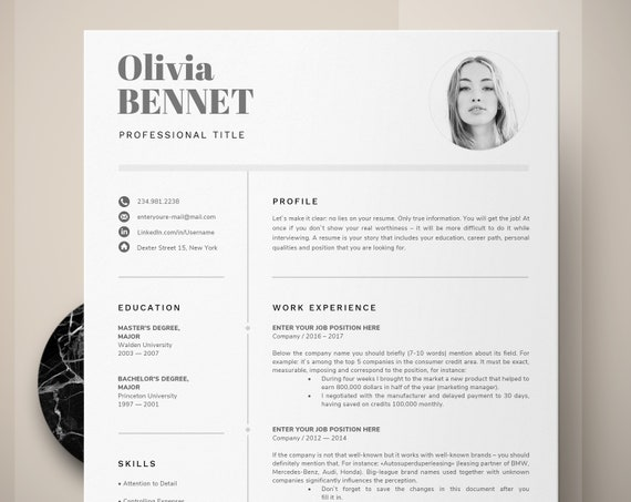 Resume Template Professional Resume Word Cv Template Modern Resume One Two Page Resume Template Creative Resume Resume Design