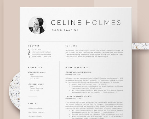 Creative Resume Templates Instant Download Etsy Professional Cv Design Cover Letter And Resume Template Simple Resume Modern Resume Cv