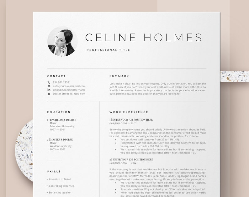 Creative Resume Templates Instant Download, Etsy, Professional Cv Design,  Resume and Cover Letter Template, Simple Resume | Modern Resume Cv