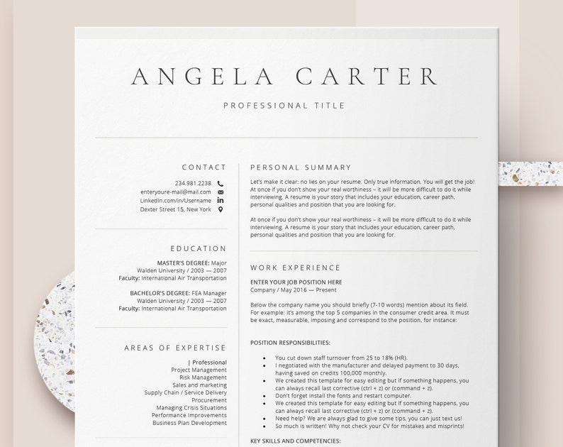 Two Page Functional Resume Template Instant Download CV Professional