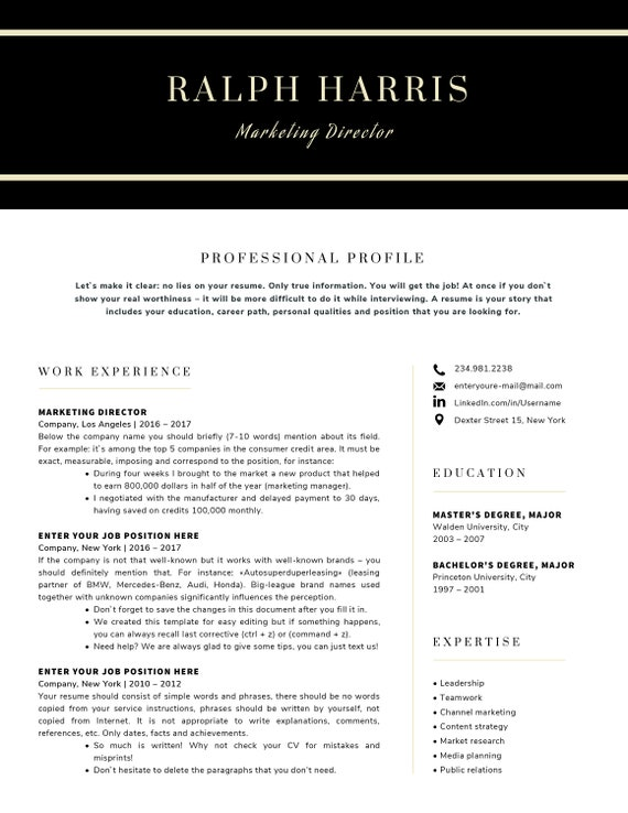 Moderne Lebenslauf Vorlage / CV Vorlage Anschreiben | Etsy