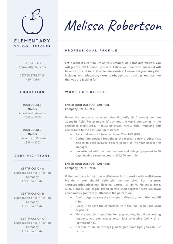 Teacher Resume Template For Word Teaching Resume Cv Teacher Elementary Resume Cv For Teachers Preschool Teacher Art Or Esl