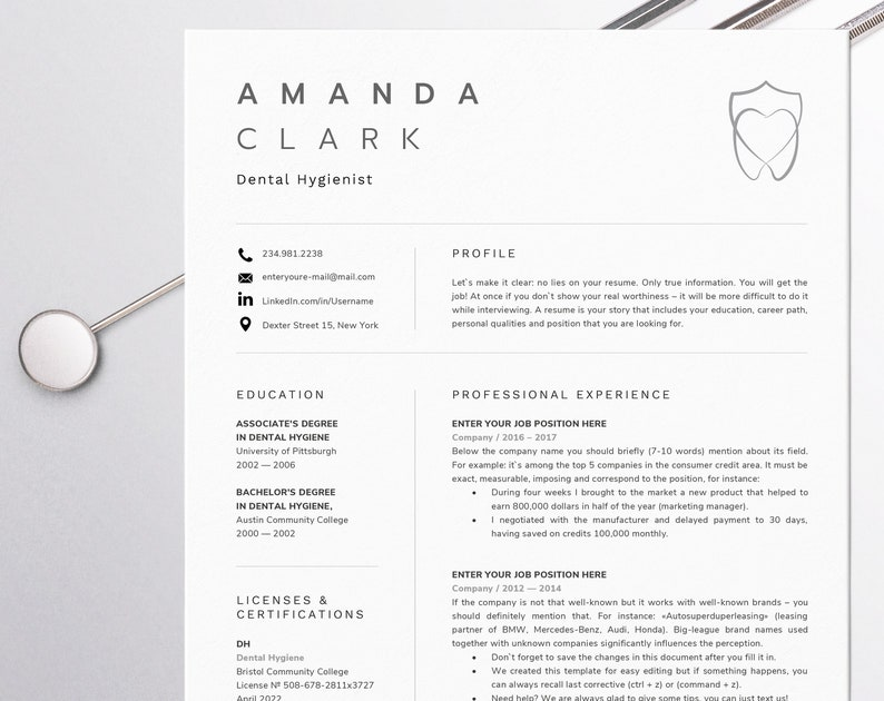 Dental Assistant Resume For Word Dentist CV Template Hygienist Instant Download Orthodontic