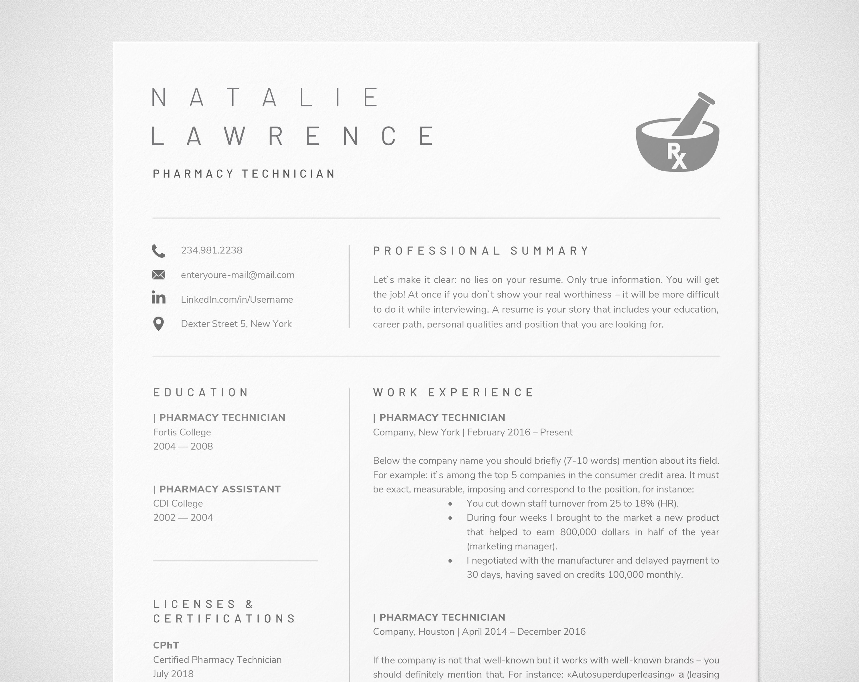 Pharmacy Technician Resume Template For Word Pharmacist