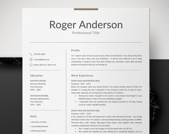 professional resume template business resume for word etsy
