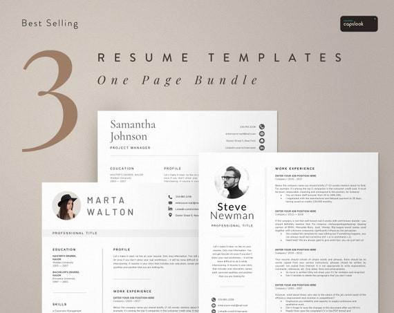 One Page Resume Template Instant Download 1 Page Resume Bundle Resumes Cv Templates Word Simple Resume Functional Resume For Mac And Pc