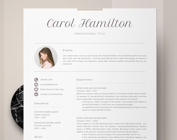 Resume with picture template, creative resume with photo - Makeup Artist,  Actor, Art teacher, One and two page version resume + cover letter