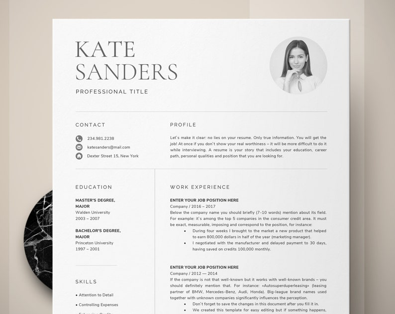 CV Template Resume With Photo Professional