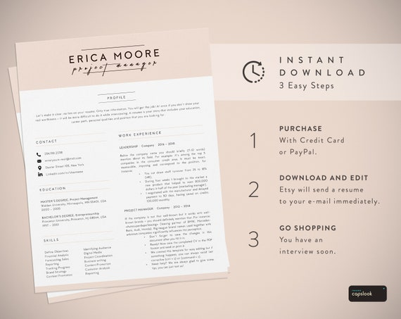 Creative Resume Template For Word Instant Download Cv Template Creative Cv Design And Cover Letter Included Ms Word Compatible Pink