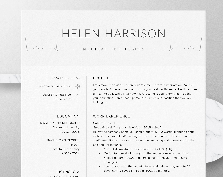 Nurse Resume Template for Word | Nursing Resume Template | Medical, Nurse  CV Template | Doctor Resume, RN Resume, Doctor CV Instant Download