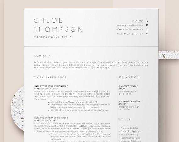Resume And Cover Letter Template Cv Template Professional Resume Template Word Instant Download Resume Templates Minimalist Resume Pages