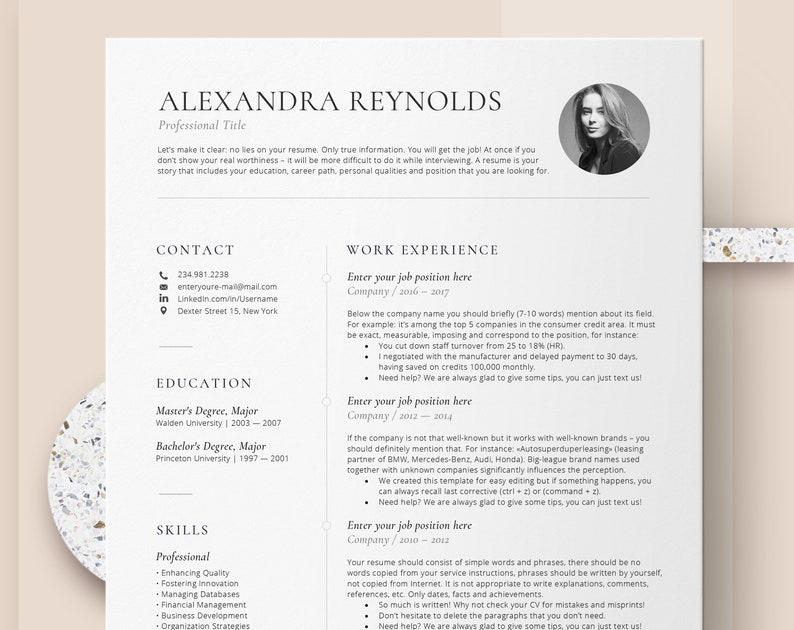Resume Template for Mac | CV template with photo - Professional Resume  Templates Word & Mac Pages, Creative Resume Template Instant Download