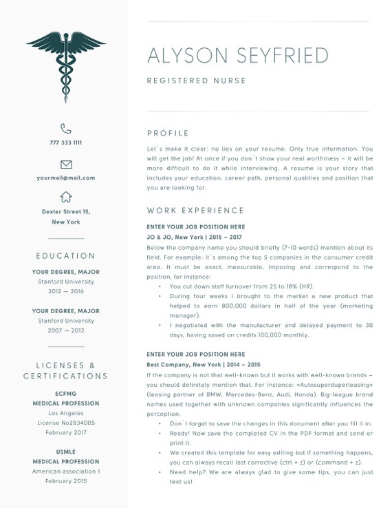Nursing Resume Template for Word | Registered Nurse Resume Template, CV |  Medical Resume | Rn, Cna, Doctor Resume Template Instant Download