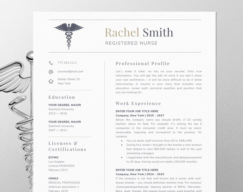 Nursing Resume Template For Word Nurse Cv Rn