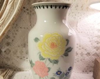 White Asian floral vase with green trim