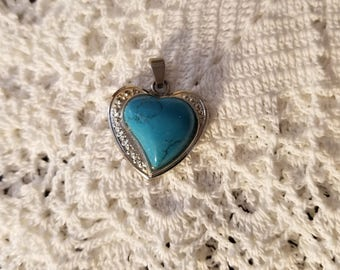 Turquoise and silver heart pendant