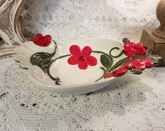 Holland mold floral ceramic dish