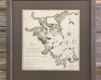 Watermark maps etsy bay and harbor of boston antique map gumiabroncs Images