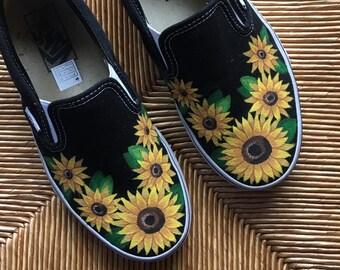 14af4f772b5a85 Handpainted Sunflower Vans
