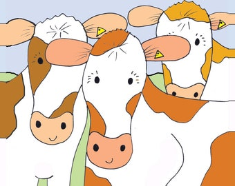 He 'Herd' It Was Your Birthday! Guernsey Cow Birthday Card